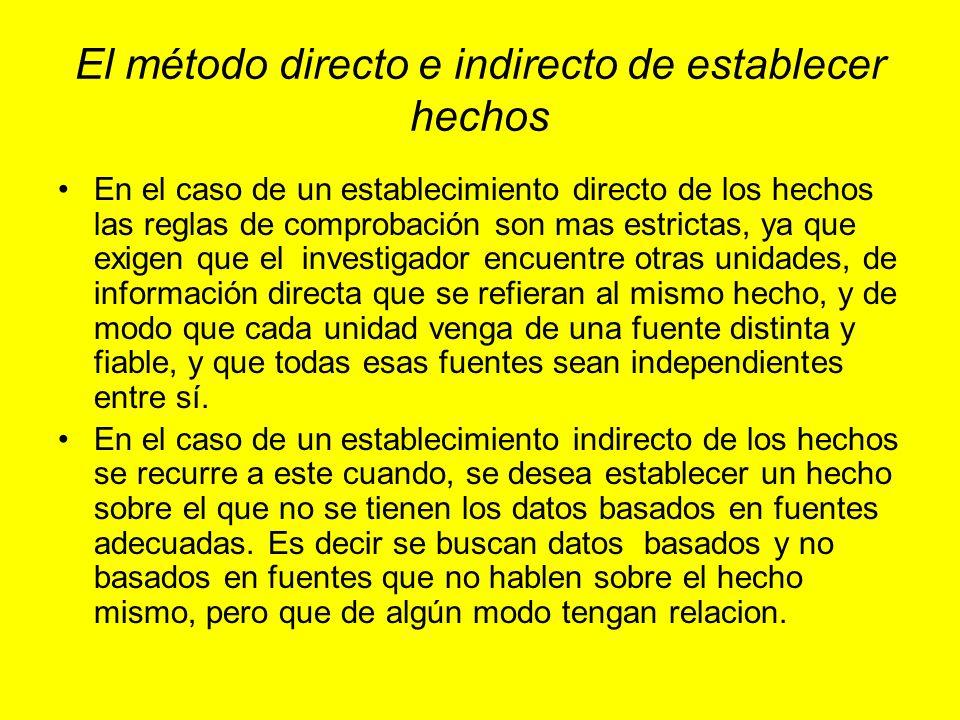 El método directo e indirecto de establecer hechos En el caso de un establecimiento directo de los hechos las reglas de comprobación son mas estrictas