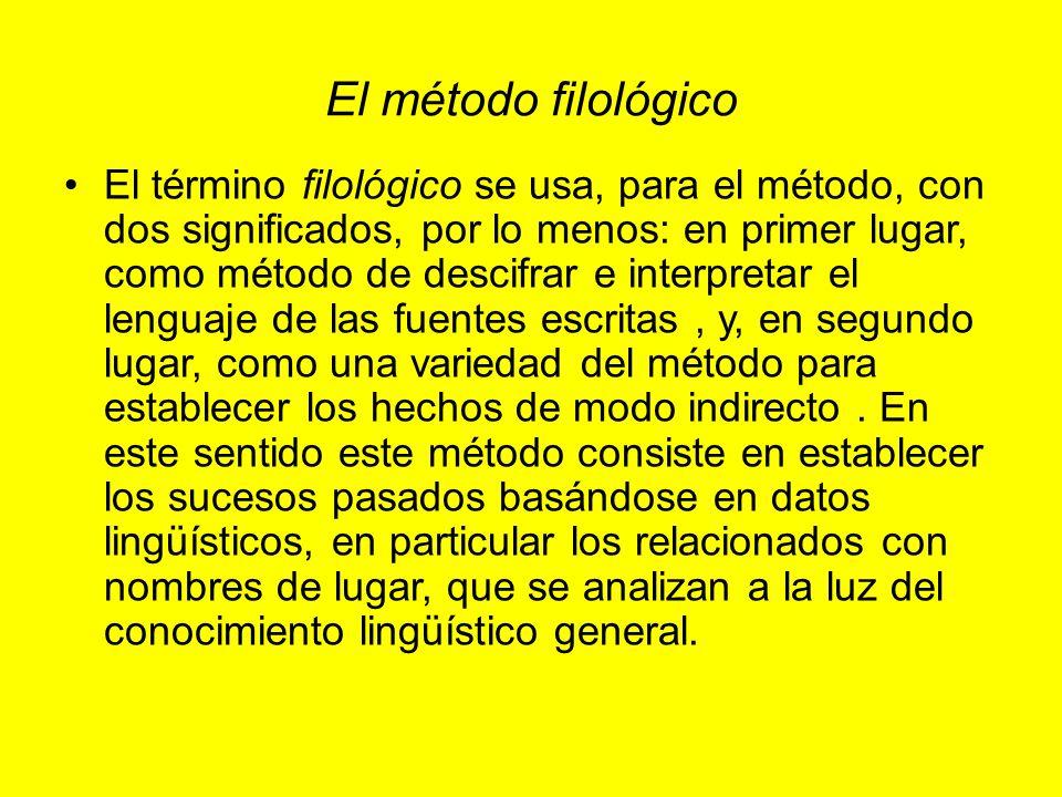 El método filológico El término filológico se usa, para el método, con dos significados, por lo menos: en primer lugar, como método de descifrar e int