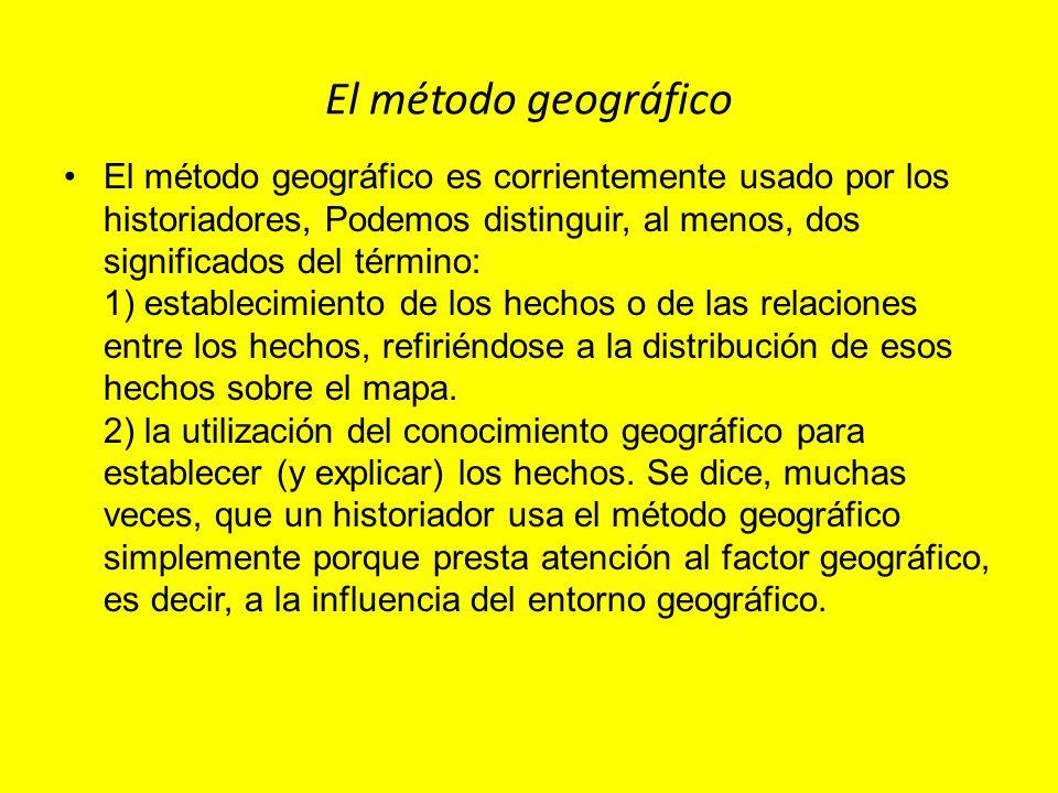 El método geográfico El método geográfico es corrientemente usado por los historiadores, Podemos distinguir, al menos, dos significados del término: 1
