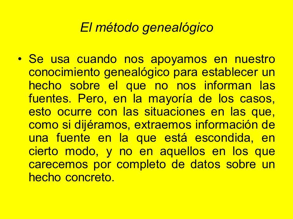 El método genealógico Se usa cuando nos apoyamos en nuestro conocimiento genealógico para establecer un hecho sobre el que no nos informan las fuentes