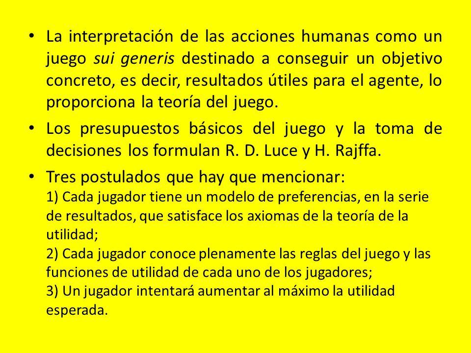 La interpretación de las acciones humanas como un juego sui generis destinado a conseguir un objetivo concreto, es decir, resultados útiles para el ag