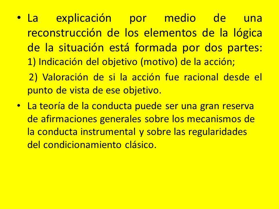 La explicación por medio de una reconstrucción de los elementos de la lógica de la situación está formada por dos partes: 1) Indicación del objetivo (