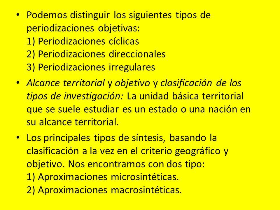 Podemos distinguir los siguientes tipos de periodizaciones objetivas: 1) Periodizaciones cíclicas 2) Periodizaciones direccionales 3) Periodizaciones