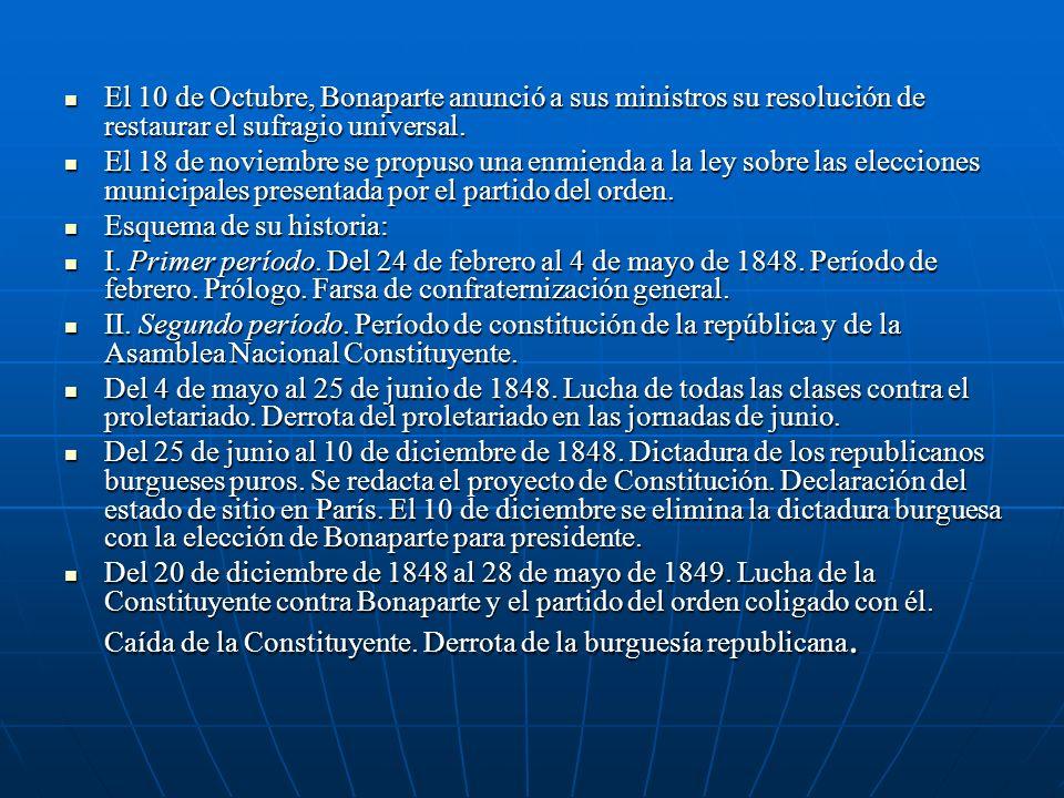 El 10 de Octubre, Bonaparte anunció a sus ministros su resolución de restaurar el sufragio universal. El 10 de Octubre, Bonaparte anunció a sus minist