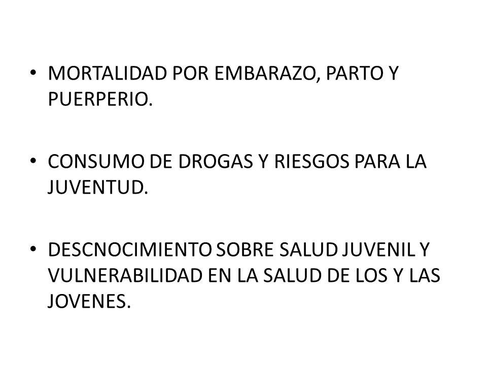 MORTALIDAD POR EMBARAZO, PARTO Y PUERPERIO. CONSUMO DE DROGAS Y RIESGOS PARA LA JUVENTUD.