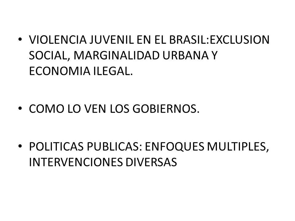 VIOLENCIA JUVENIL EN EL BRASIL:EXCLUSION SOCIAL, MARGINALIDAD URBANA Y ECONOMIA ILEGAL.