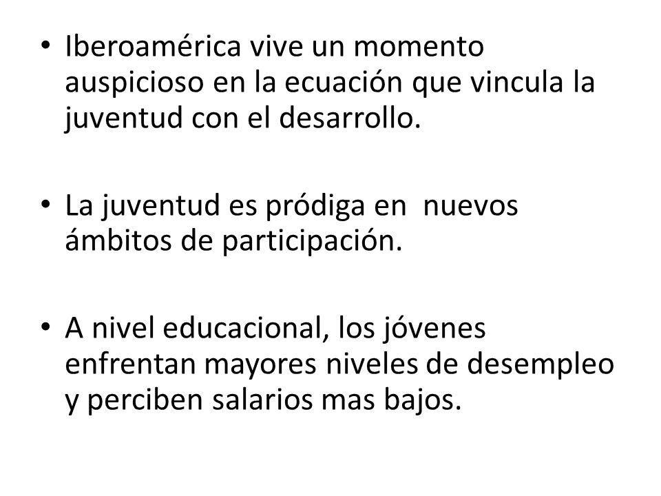 Iberoamérica vive un momento auspicioso en la ecuación que vincula la juventud con el desarrollo.