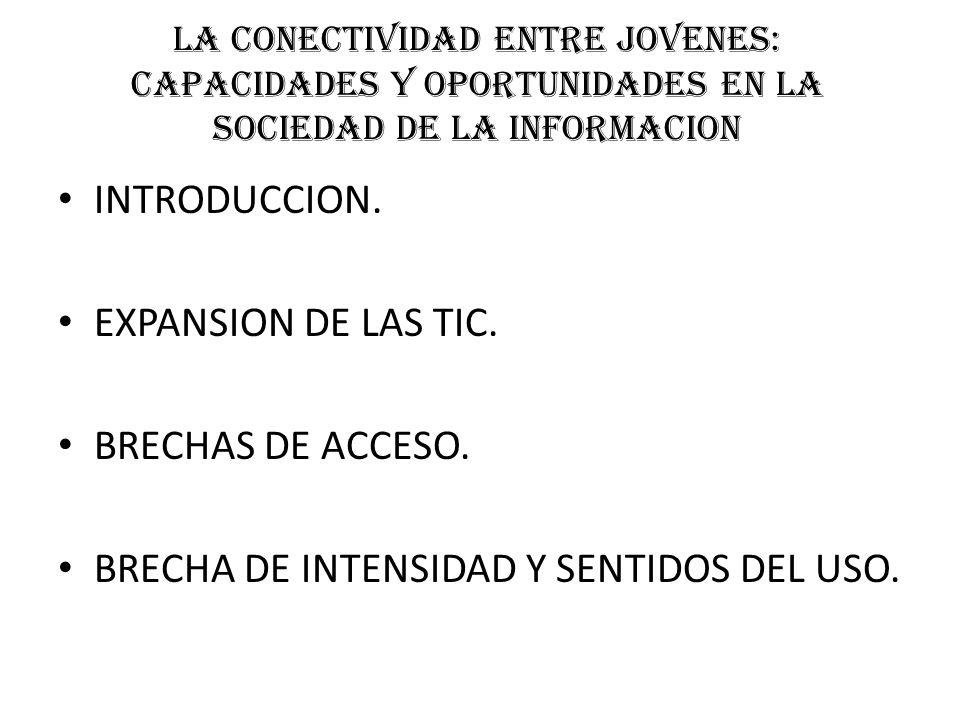 LA CONECTIVIDAD ENTRE JOVENES: CAPACIDADES Y OPORTUNIDADES EN LA SOCIEDAD DE LA INFORMACION INTRODUCCION.