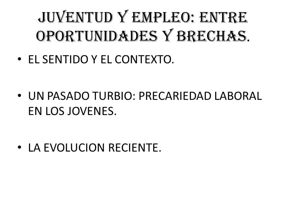 JUVENTUD Y EMPLEO: ENTRE OPORTUNIDADES Y BRECHAS. EL SENTIDO Y EL CONTEXTO.