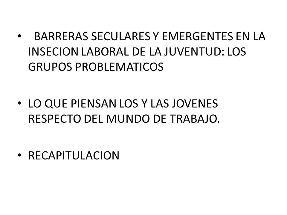 BARRERAS SECULARES Y EMERGENTES EN LA INSECION LABORAL DE LA JUVENTUD: LOS GRUPOS PROBLEMATICOS LO QUE PIENSAN LOS Y LAS JOVENES RESPECTO DEL MUNDO DE TRABAJO.