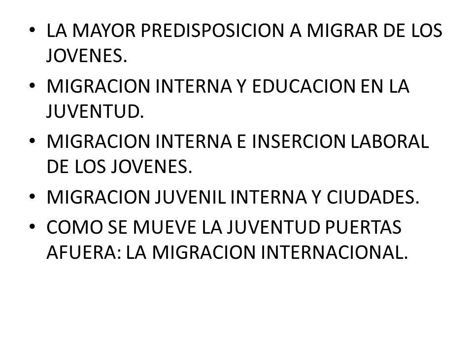 LA MAYOR PREDISPOSICION A MIGRAR DE LOS JOVENES. MIGRACION INTERNA Y EDUCACION EN LA JUVENTUD.