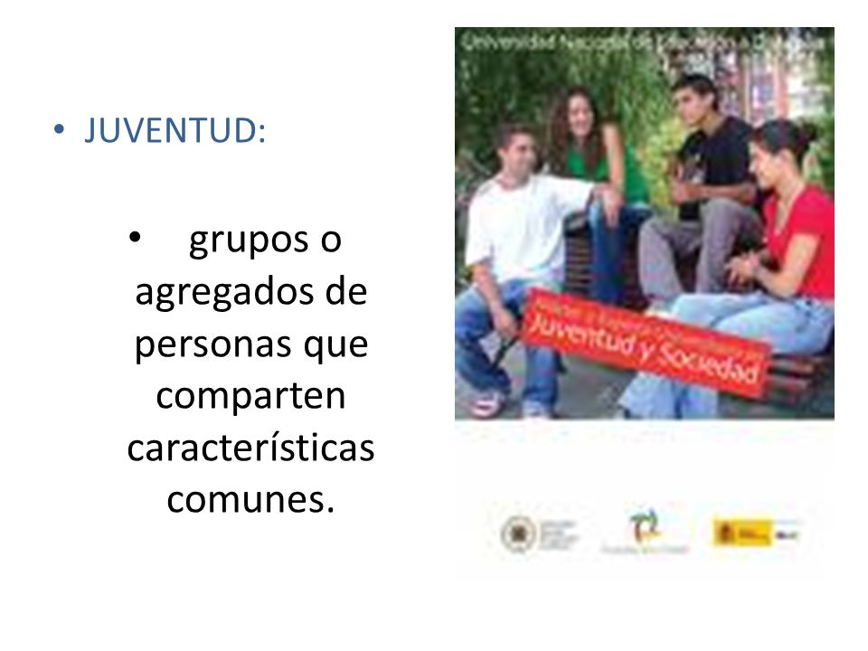 JUVENTUD: grupos o agregados de personas que comparten características comunes.