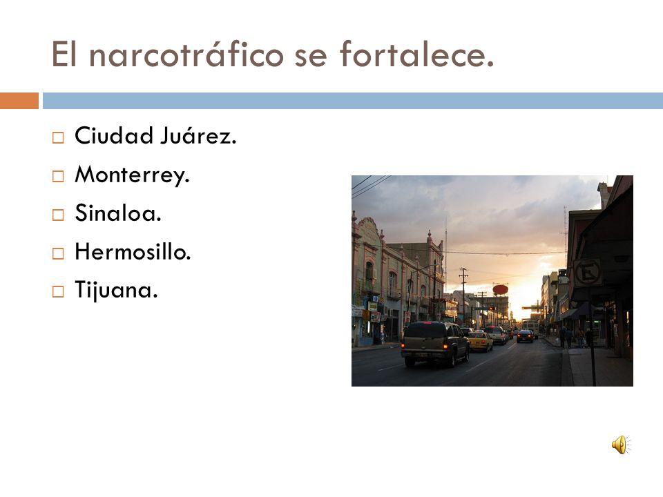 El narcotráfico se fortalece. Ciudad Juárez. Monterrey. Sinaloa. Hermosillo. Tijuana.