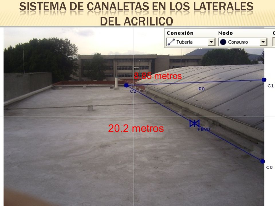 20.2 metros 8.85 metros EL SISTEMA DE CANALETAS DEBERÁN TENER UNA INCLINACIÓN ADECUADA PARA SU BUEN ESCURRIMIENTO PARA DESPUES CONECTARLO A UN SOLO CONDUCTO DE CAPTACIÓN