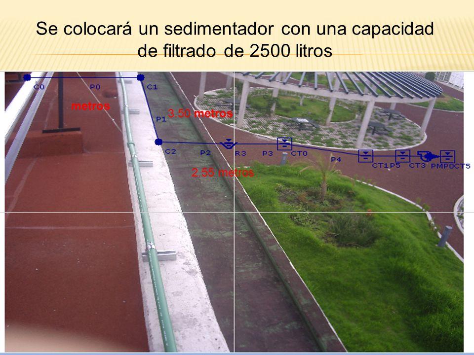 20.3 metros 8.86 metros Conectando las dos canaletas mediante un tubo de pvc se unirán para dirigirlas por los tubos de agua del edificio