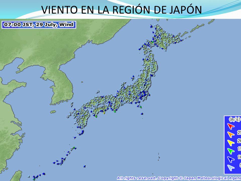 VIENTO EN LA REGIÓN DE JAPÓN