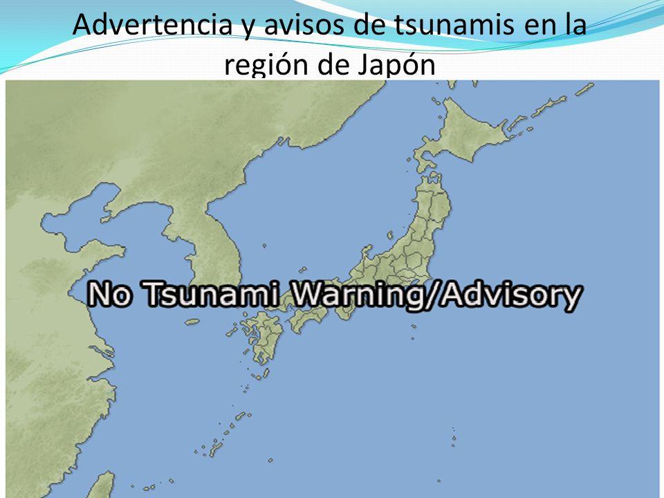 Advertencia y avisos de tsunamis en la región de Japón