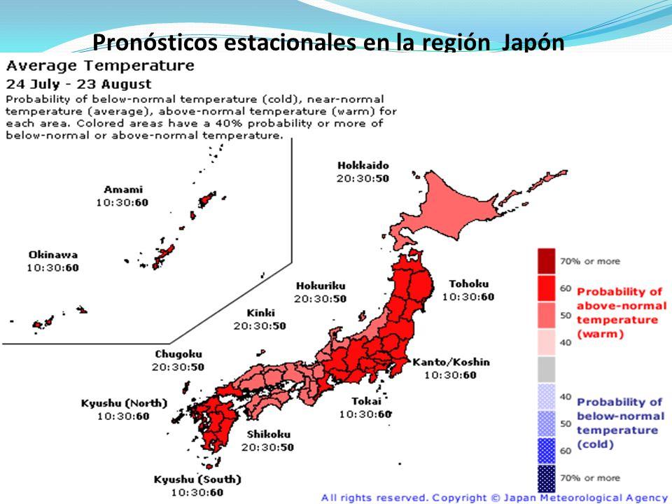 Pronósticos estacionales en la región Japón