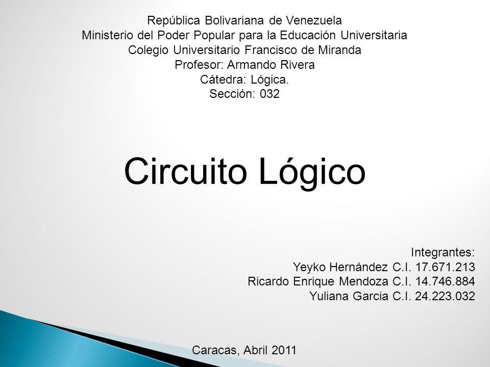 Bibliografía: Internet http://www.unicrom.com/Tut_circuitoslogicos.asp http://html.rincondelvago.com/circuitos-logicos_1.html http://es.wikipedia.org/wiki/Lógica http://www.econ.uba.ar/www/departamentos/humanidades/plan97/logica/Legris/apun tes/AP-Circuitos.pdf Universidad de Buenos Aires http://www.slideshare.net/rafael.mora/circuitos-lgicos-presentation