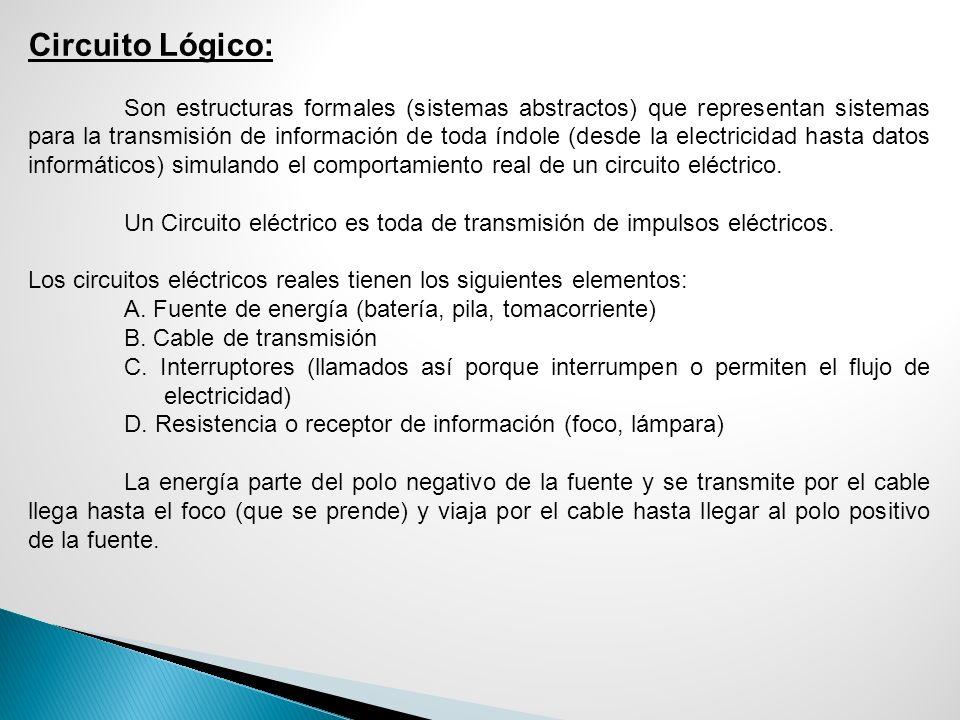 Circuito Lógico: Son estructuras formales (sistemas abstractos) que representan sistemas para la transmisión de información de toda índole (desde la e