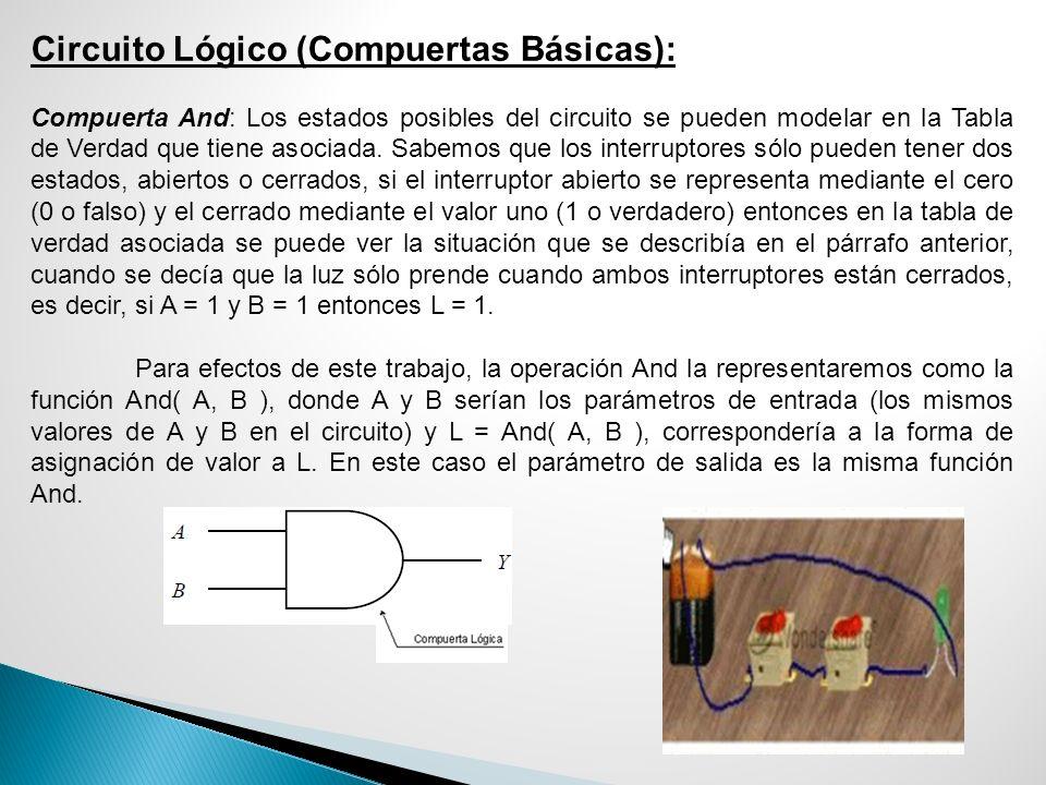 Circuito Lógico (Compuertas Básicas): Compuerta And: Los estados posibles del circuito se pueden modelar en la Tabla de Verdad que tiene asociada. Sab