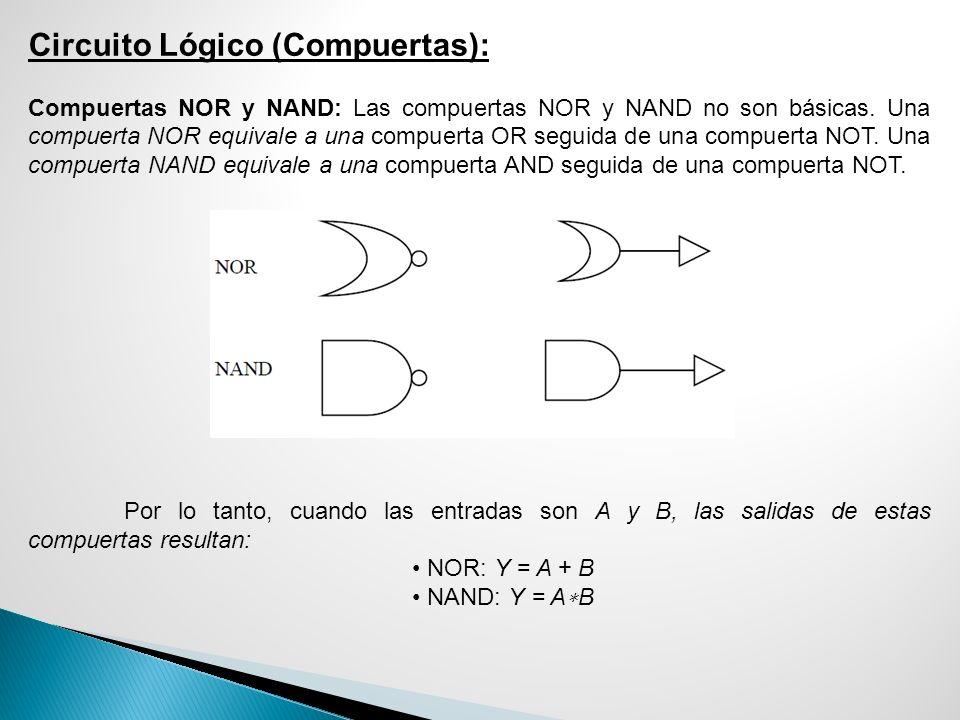 Circuito Lógico (Compuertas): Compuertas NOR y NAND: Las compuertas NOR y NAND no son básicas. Una compuerta NOR equivale a una compuerta OR seguida d