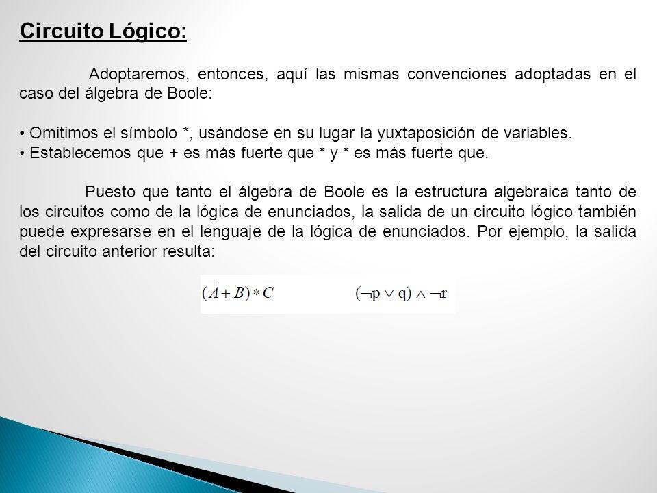 Circuito Lógico: Adoptaremos, entonces, aquí las mismas convenciones adoptadas en el caso del álgebra de Boole: Omitimos el símbolo *, usándose en su