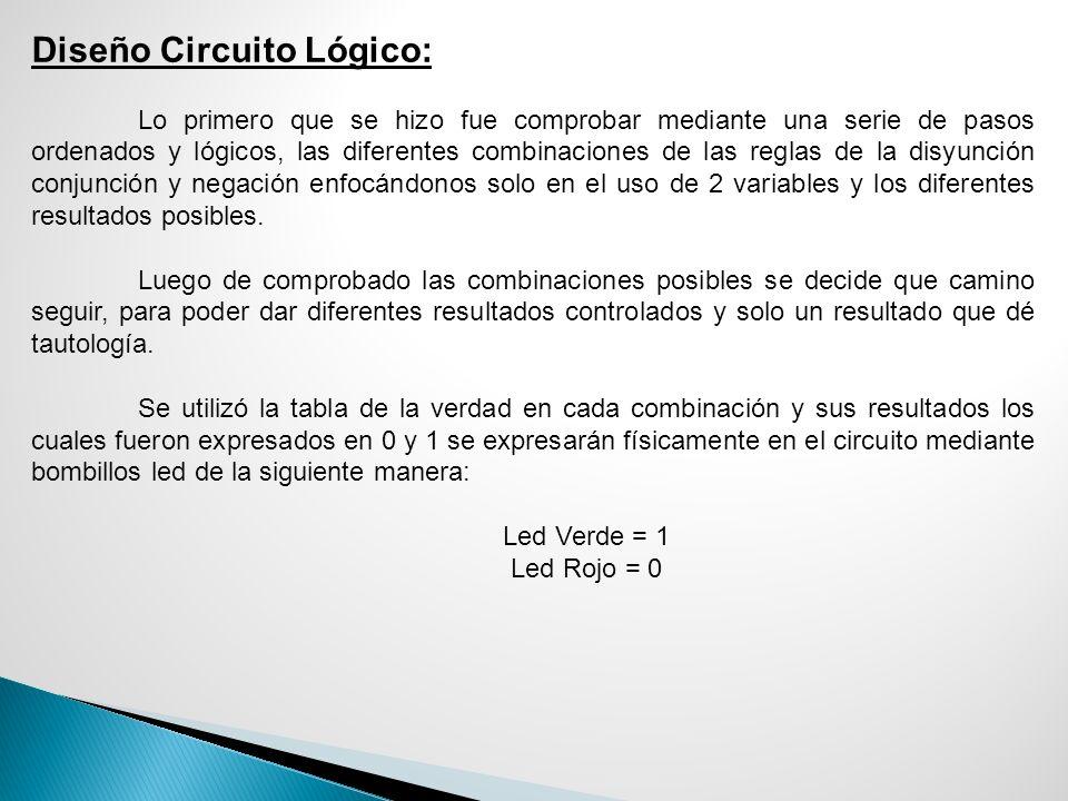 Diseño Circuito Lógico: Lo primero que se hizo fue comprobar mediante una serie de pasos ordenados y lógicos, las diferentes combinaciones de las regl
