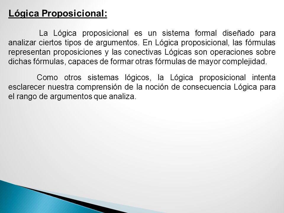 Lógica Proposicional: La Lógica proposicional es un sistema formal diseñado para analizar ciertos tipos de argumentos. En Lógica proposicional, las fó