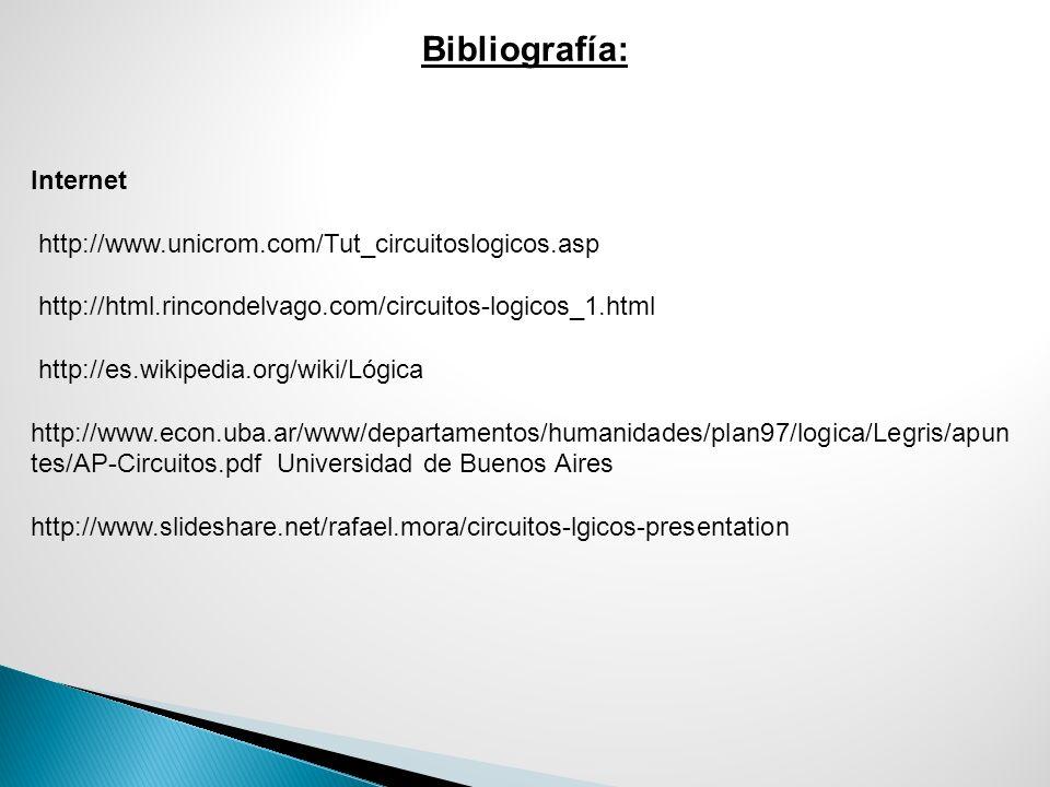 Bibliografía: Internet http://www.unicrom.com/Tut_circuitoslogicos.asp http://html.rincondelvago.com/circuitos-logicos_1.html http://es.wikipedia.org/