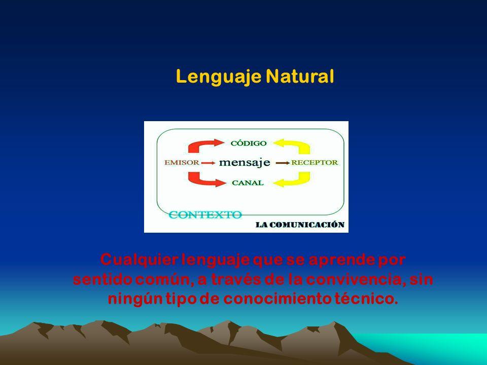 Cualquier lenguaje que se aprende por sentido común, a través de la convivencia, sin ningún tipo de conocimiento técnico. Lenguaje Natural