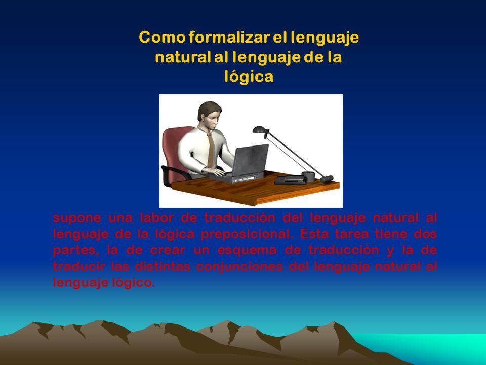 Como formalizar el lenguaje natural al lenguaje de la lógica supone una labor de traducción del lenguaje natural al lenguaje de la lógica preposiciona