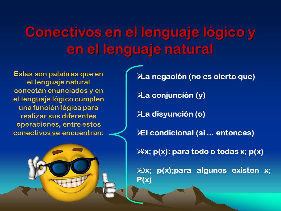 Conectivos en el lenguaje lógico y en el lenguaje natural Estas son palabras que en el lenguaje natural conectan enunciados y en el lenguaje lógico cu