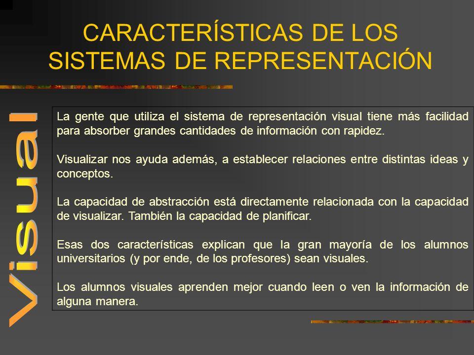 CARACTERÍSTICAS DE LOS SISTEMAS DE REPRESENTACIÓN La gente que utiliza el sistema de representación visual tiene más facilidad para absorber grandes c