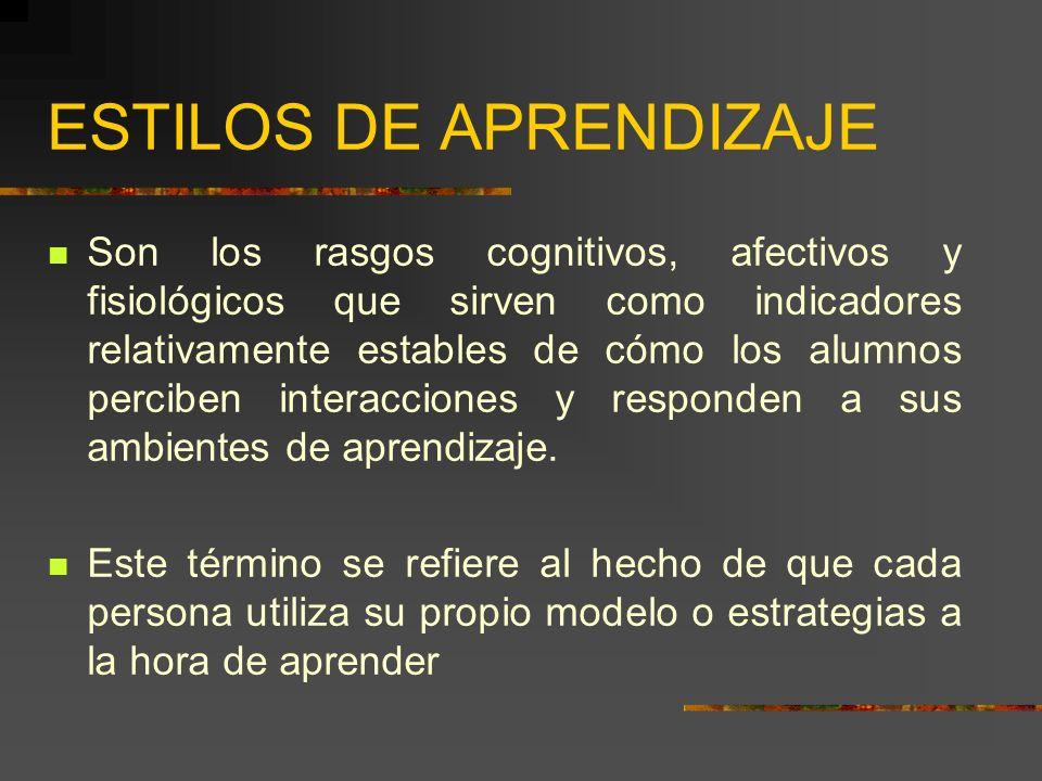 MODELOS DE ESTILOS DE APRENDIZAJE Ofrecen un marco conceptual.