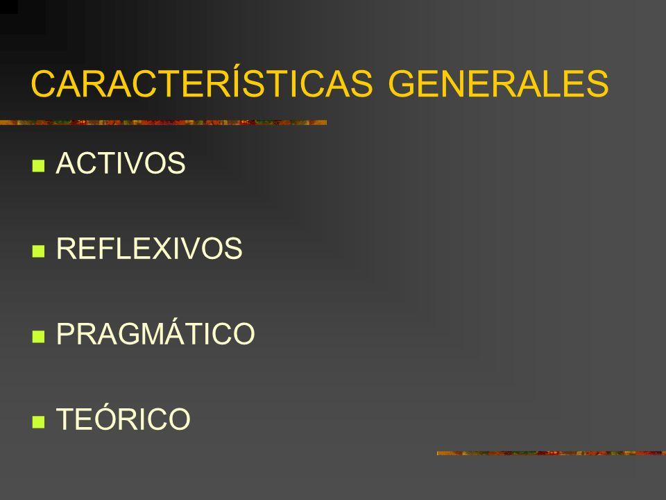 CARACTERÍSTICAS GENERALES ACTIVOS REFLEXIVOS PRAGMÁTICO TEÓRICO