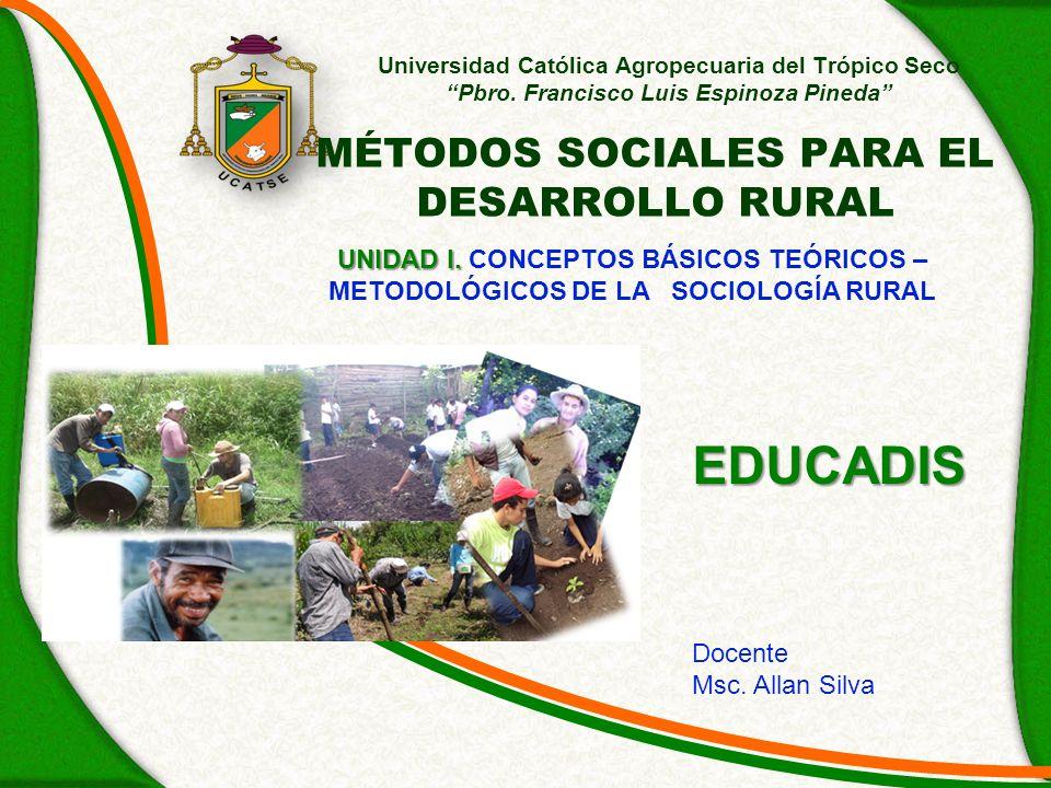 OBJETIVOS Determinar la importancia y objeto de estudio de las Ciencias Sociales en el sector agropecuario a través del estudio de la Sociología Rural Identificar las técnicas y métodos que emplean las Ciencias Sociales para evaluar la realidad del entorno rural.