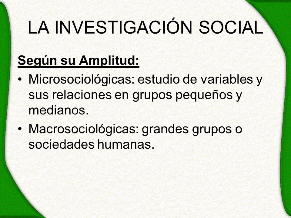 LA INVESTIGACIÓN SOCIAL Según su Amplitud: Microsociológicas: estudio de variables y sus relaciones en grupos pequeños y medianos. Macrosociológicas: