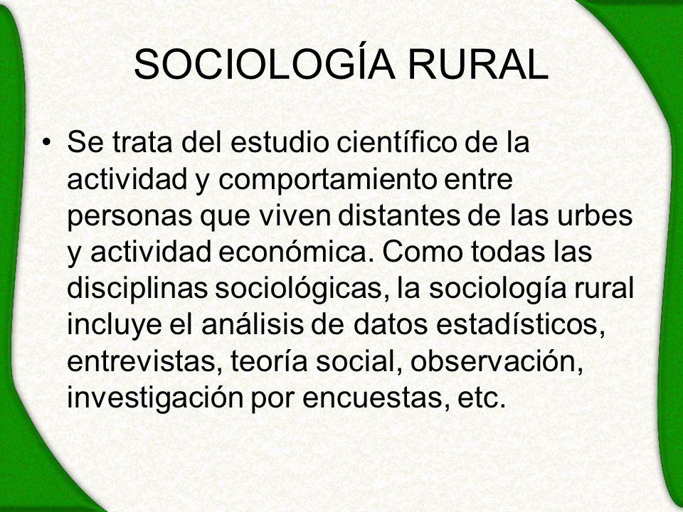 SOCIOLOGÍA RURAL Se trata del estudio científico de la actividad y comportamiento entre personas que viven distantes de las urbes y actividad económic