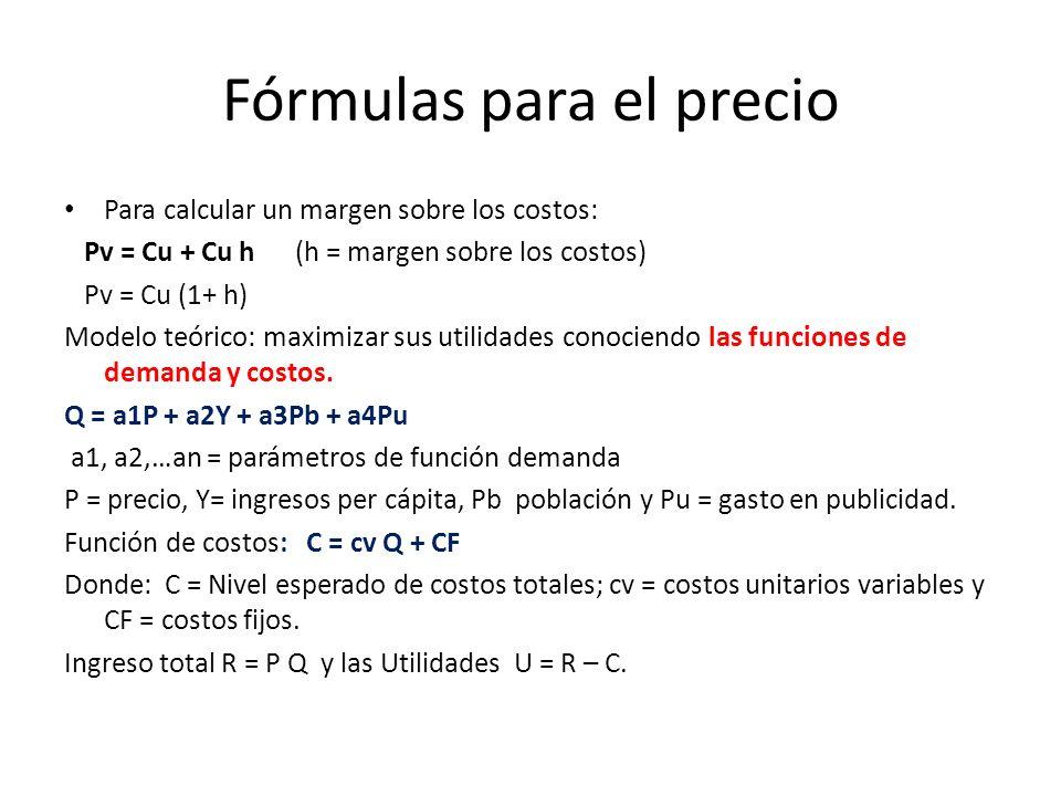 Fórmulas para el precio Para calcular un margen sobre los costos: Pv = Cu + Cu h (h = margen sobre los costos) Pv = Cu (1+ h) Modelo teórico: maximizar sus utilidades conociendo las funciones de demanda y costos.