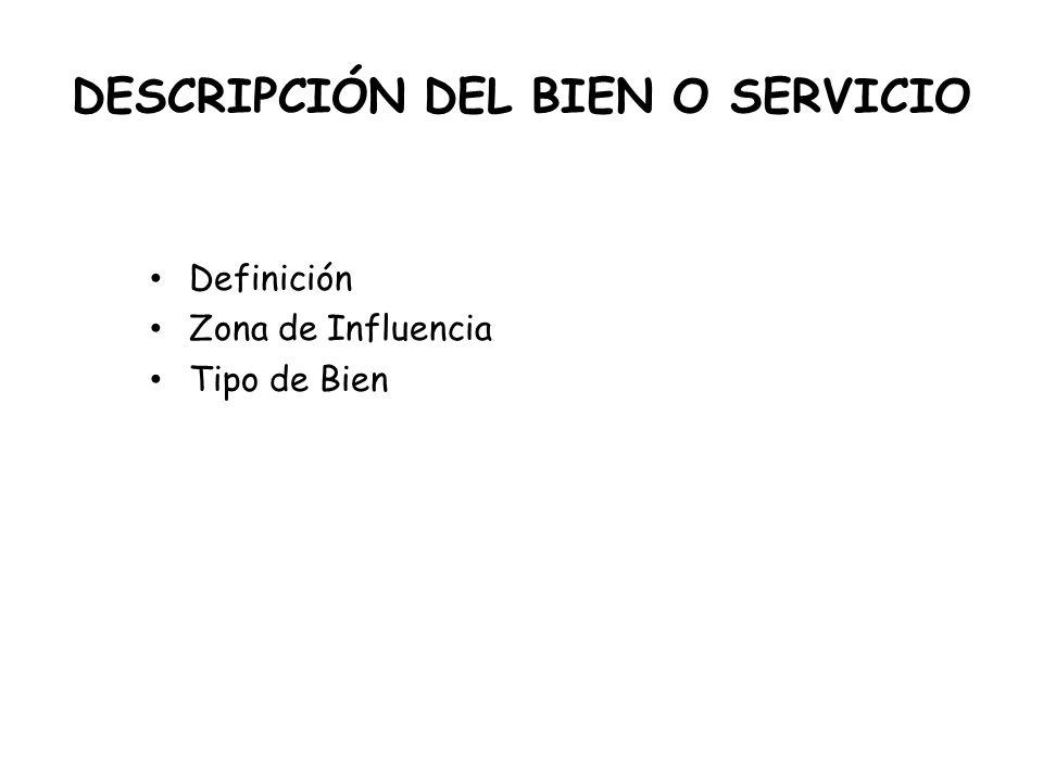 DESCRIPCIÓN DEL BIEN O SERVICIO Definición Zona de Influencia Tipo de Bien
