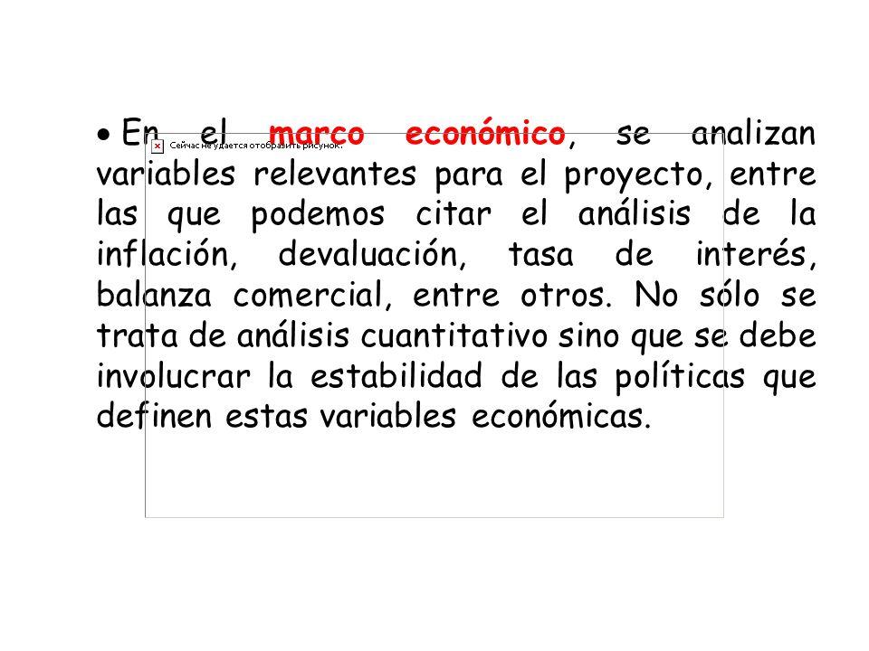En el marco económico, se analizan variables relevantes para el proyecto, entre las que podemos citar el análisis de la inflación, devaluación, tasa d
