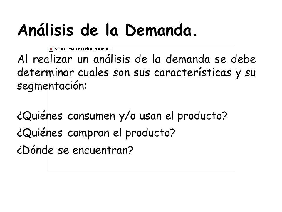 Análisis de la Demanda. Al realizar un análisis de la demanda se debe determinar cuales son sus características y su segmentación: ¿Quiénes consumen y