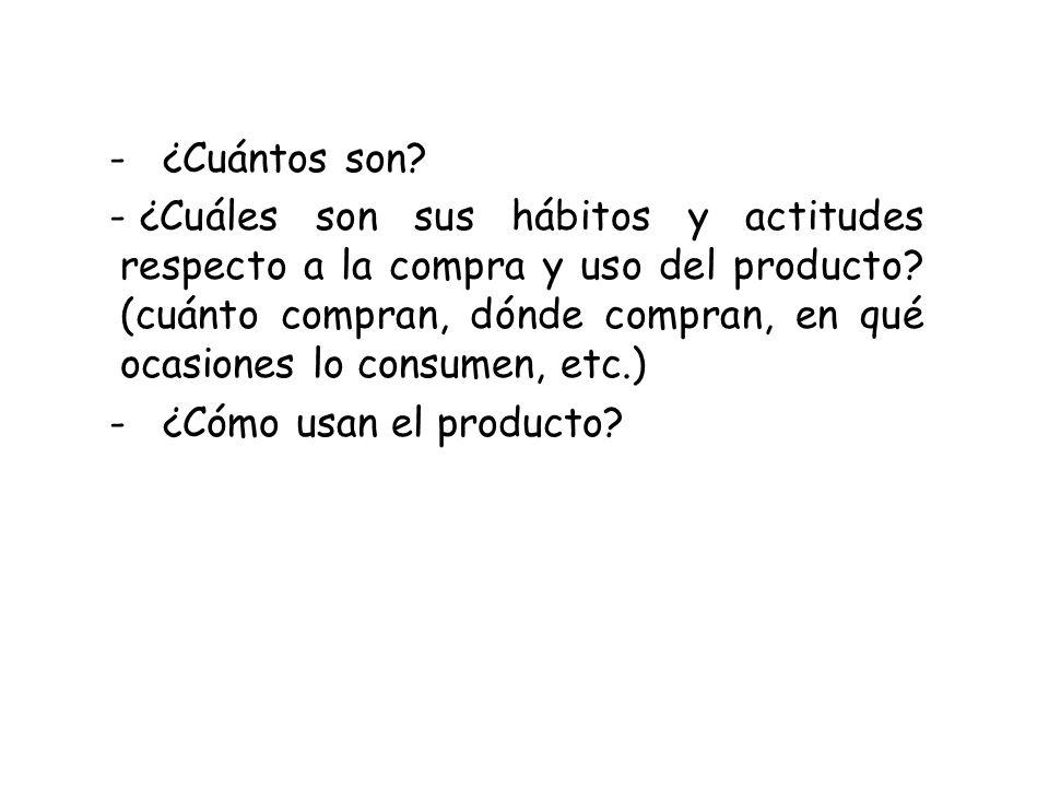 - ¿Cuántos son? - ¿Cuáles son sus hábitos y actitudes respecto a la compra y uso del producto? (cuánto compran, dónde compran, en qué ocasiones lo con