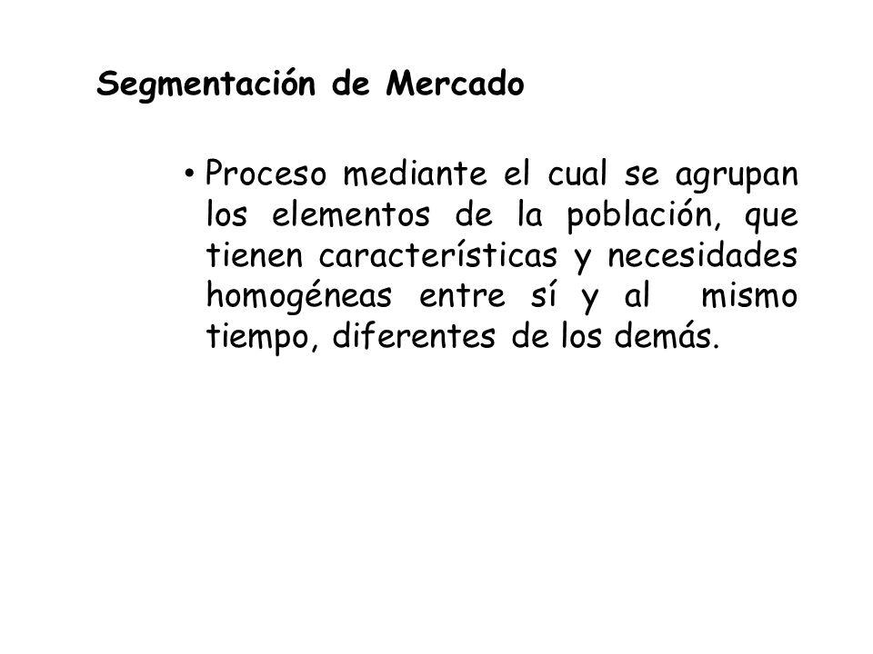 Segmentación de Mercado Proceso mediante el cual se agrupan los elementos de la población, que tienen características y necesidades homogéneas entre sí y al mismo tiempo, diferentes de los demás.