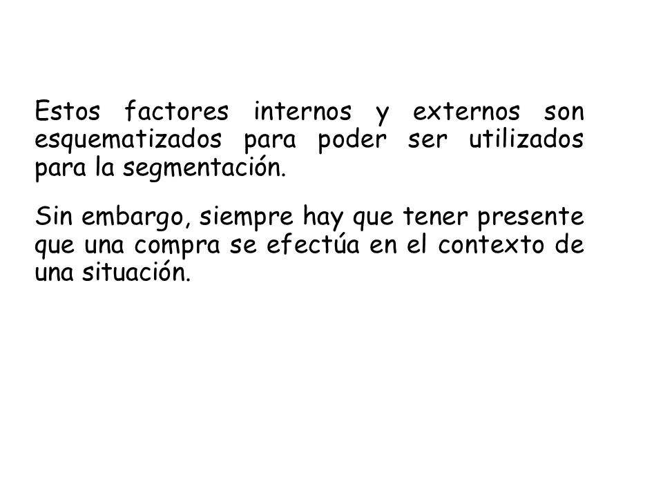 Estos factores internos y externos son esquematizados para poder ser utilizados para la segmentación. Sin embargo, siempre hay que tener presente que