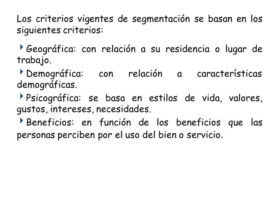 Los criterios vigentes de segmentación se basan en los siguientes criterios: Geográfica: con relación a su residencia o lugar de trabajo. Demográfica: