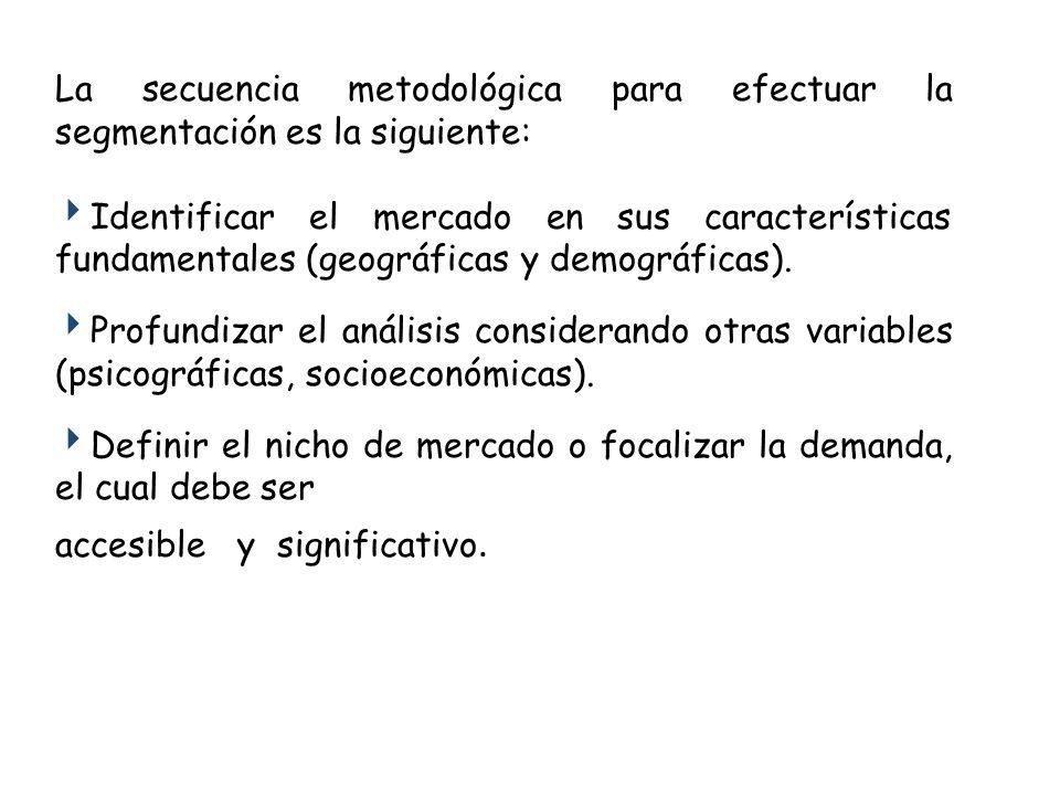 La secuencia metodológica para efectuar la segmentación es la siguiente: Identificar el mercado en sus características fundamentales (geográficas y demográficas).