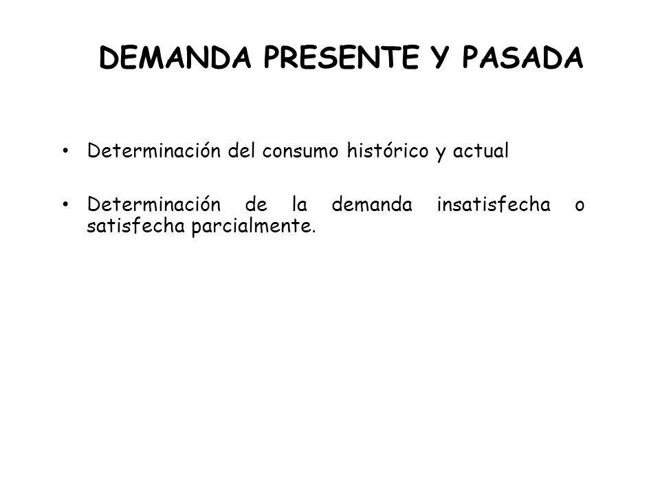 DEMANDA PRESENTE Y PASADA Determinación del consumo histórico y actual Determinación de la demanda insatisfecha o satisfecha parcialmente.