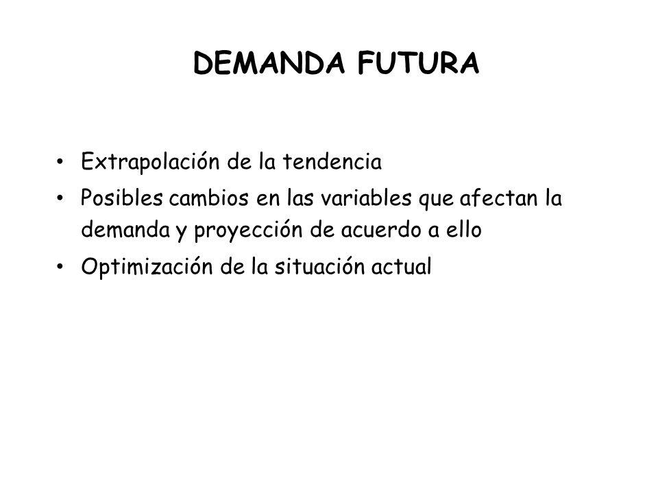 DEMANDA FUTURA Extrapolación de la tendencia Posibles cambios en las variables que afectan la demanda y proyección de acuerdo a ello Optimización de la situación actual